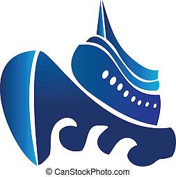 vela, vettore, crociera, logotipo, nave, barca
