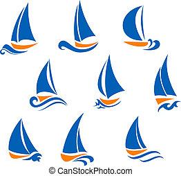 vela, y, regata, símbolos