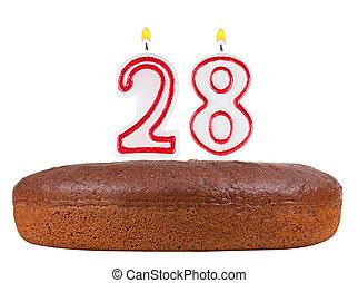 velas, 28, número, aislado, torta de cumpleaños