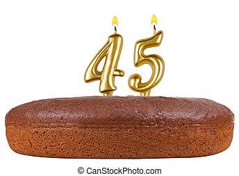 velas, 45, número, aislado, torta de cumpleaños