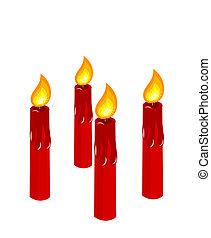 velas, advento, vermelho, queimadura