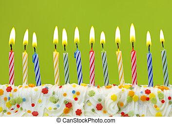 velas, aniversário, coloridos