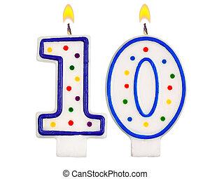 velas, aniversário, número, dez