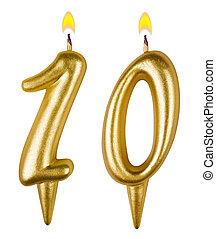 velas aniversário, número, dez, isolado