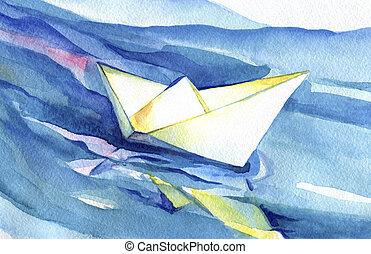 velas, barco, papel, blanco, ondas