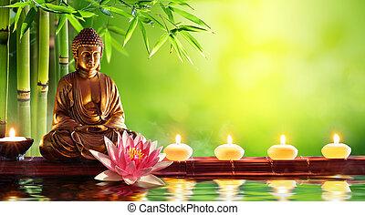 velas, buddha, natural, estátua, fundo