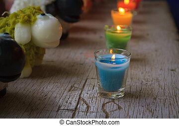 velas, coloridos, celebração