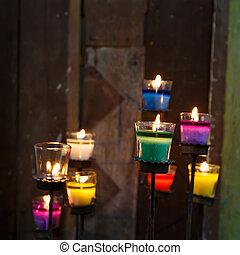 velas, coloridos, vidro