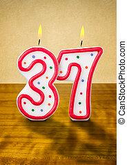 velas, cumpleaños, 37, número, abrasador