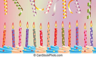 velas, cumpleaños, fila