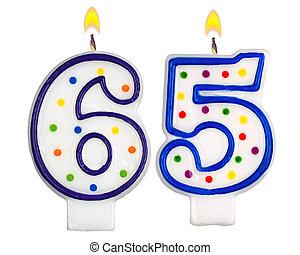 velas de cumpleaños, número, sesenta, cinco