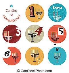 velas de fiesta, hanukkah, día, 8, ocho