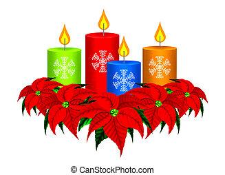 velas de navidad, y, flor de nochebuena, ch