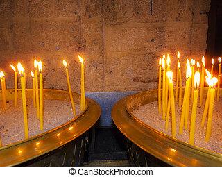 velas, dentro, apedrear, abrasador, capilla