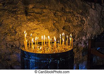 velas, dentro, apedrear, abrasador, monasterio