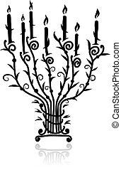 velas, diseño, su, candelero