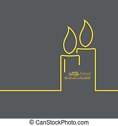 velas, dois, queimadura