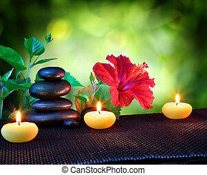 velas, e, pedras, spa, composição
