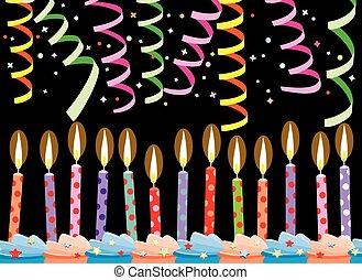 velas, flámulas, cumpleaños, vector, pastel, fila