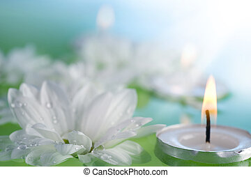 velas, flutuante, flores