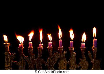 velas, fondo negro, hanukkah