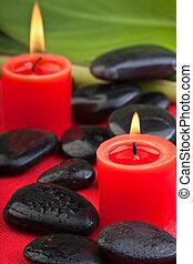 velas, hotstones, (2), vermelho