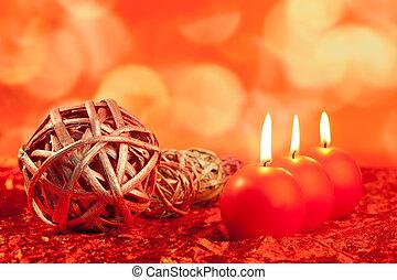 velas natal, com, secado, baubles, ligado, vermelho