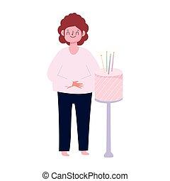 velas, pastel, celebración, blanco, feliz, hombre, aislado, cumpleaños, plano de fondo