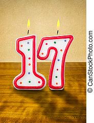 velas que queman, cumpleaños, número, 17