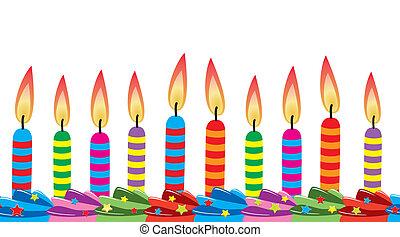velas, vector, cumpleaños, fila