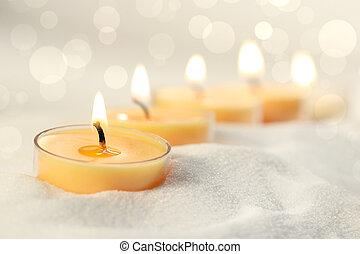 velas votive, em, areia