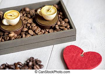 velas, xícaras café, forma
