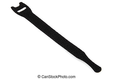 Velcro cable tie in black isolated on a white background