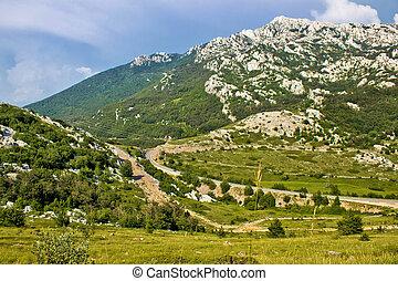 velebit, 산, prezid, 통행, 녹색의 풍경