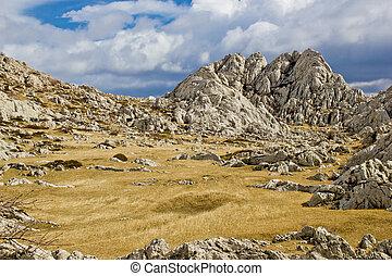 velebit, montanha, tulove, grede, paisagem