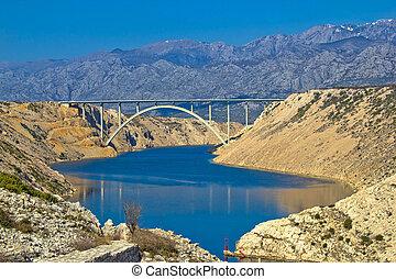 velebit, puente, montaña, a1, debajo, carretera