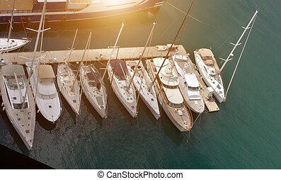 veleiros, conceito, vista aérea