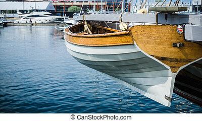 velejando, barco salva-vidas, popa, navio