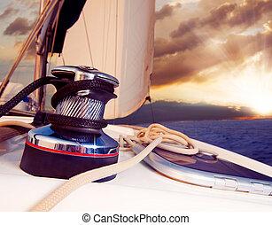 velejando, contra, iate, viagem, sunset., sailboat.