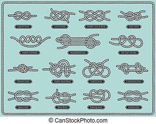 velejando, corda, knots., vetorial, jogo, de, náutico, projete elementos