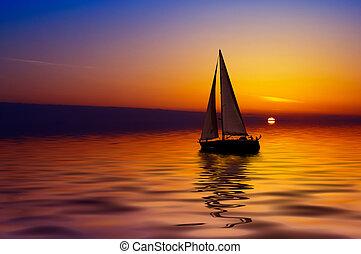 velejando, e, pôr do sol