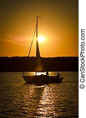 velejando, e, pôr do sol, em, verão