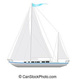velejando, floating., bote