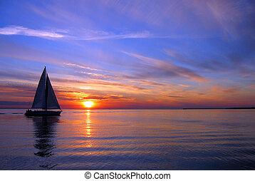 velejando, ligado, um, bonito, noturna