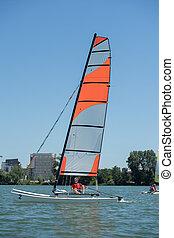 velejando, ligado, um, lago, -, verão, e, esportes, tema