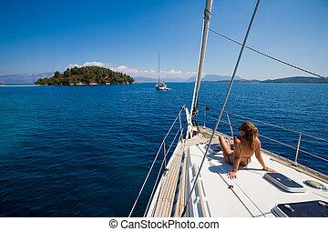 velejando, mulher, jovem