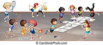 velen, anders, spelende kinderen, sporten