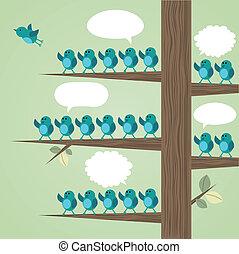 velen, boompje, vogels