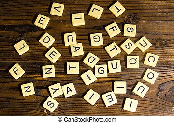 velen, brieven, op, houten, achtergrond