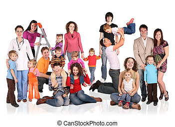 velen, families, met, kinderen, groep, vrijstaand, collage